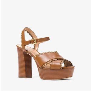 Michael Kors Jessie Leather Platform Sandal
